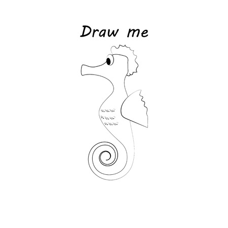 Draw me - vector illustration of sea animals. The seahorse coloring game for children.