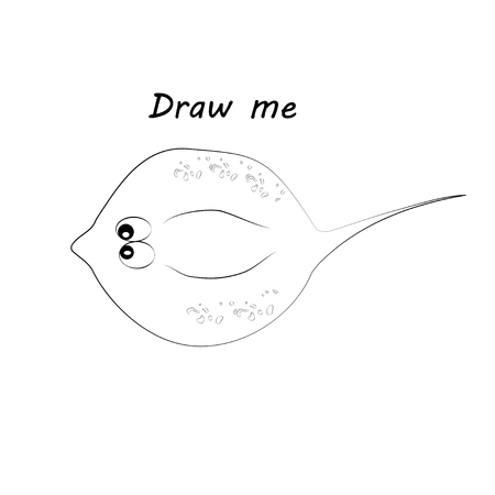 Draw me - vector illustration of sea animals. The numbfish coloring game for children.