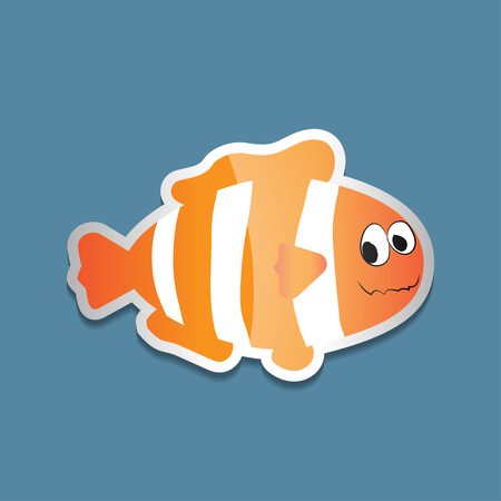 Bright colorful sticker with clown fish on a blue background. Vector illustration of sea animals.