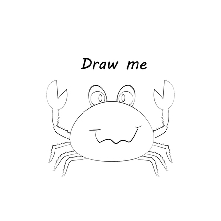 Draw me - vector illustration of sea animals. The crab coloring game for children