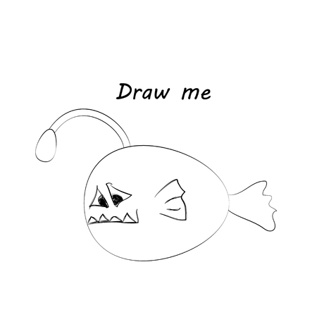 Draw me - vector illustration of sea animals. The angler fish coloring game for children