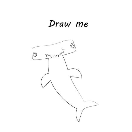 Draw me - vector illustration of sea animals.