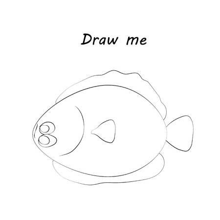 Draw me - vector illustration of sea animals.