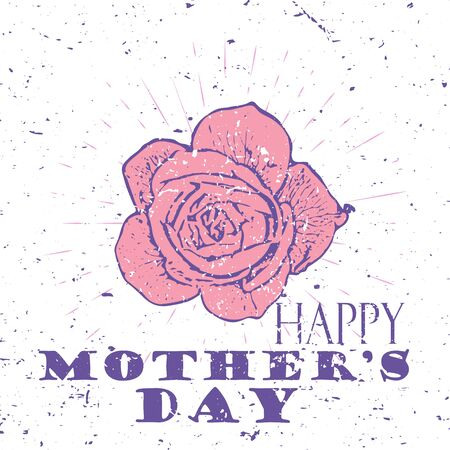 Happy Mothers Day concept with pink rose flower and Lettering Typography with burst on a Old Textured Background.