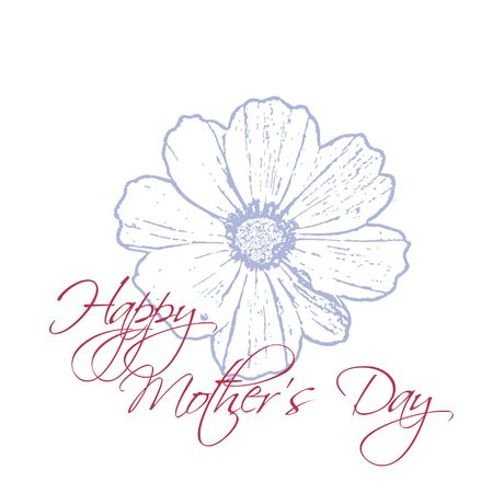 Happy Mothers Day concept with cosmos flower and Lettering Typography on a white background.