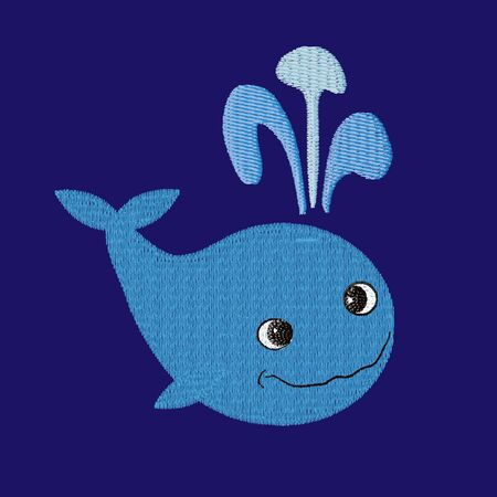 Whale patch embroidery, vector illustration of sea animal, cute character of underwater life, decorative element for baby, children clothes, things