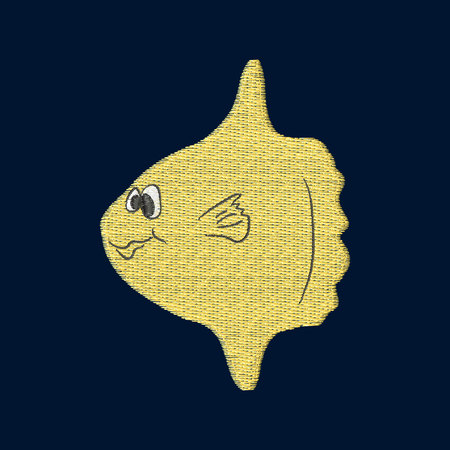 Moonfish patch embroidery, vector illustration of sea animal, cute character of uderwater life, decorative element for baby, children clothes, things
