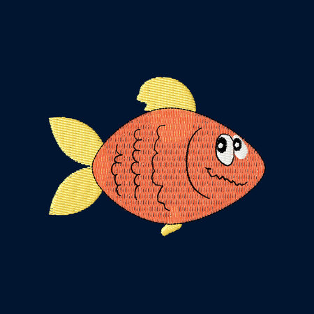 Cartoon fish patch embroidery, vector illustration of sea animal, cute character of uderwater life, decorative element for baby, children clothes, things
