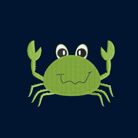 Green crab patch embroidery, vector illustration of sea animal, cute character of uderwater life, decorative element for baby, children clothes, things Illustration
