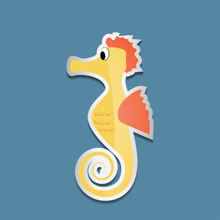 Bright colorful sticker with sea horse on a blue background. Vector illustration of sea animals