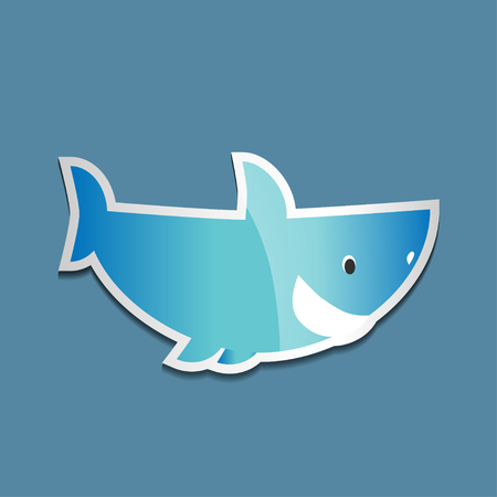 Bright colorful sticker with a shark on a blue background. Vector illustration of sea animals