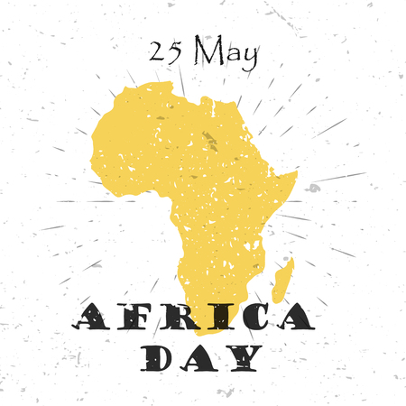 Africa Day, 25th of May concept with silhouette of the continent and Lettering Typography with burst on a Old Textured Background. Vector illustration for cards, banners, print Illustration