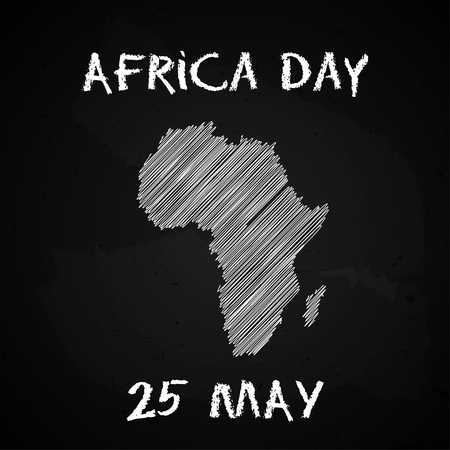 Silhouette of the Africa continent map hand drawn chalk sketch on a blackboard. Vector illustration for Africa Day, 25th of May