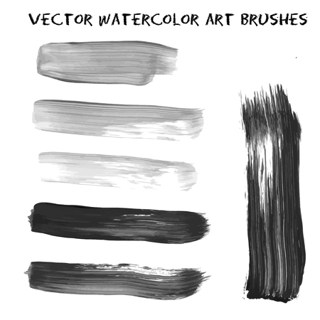 Set of grey and black watercolor paint, ink, grunge, dirty brush strokes. Vector illustration for art design prints, lables, banner, creating textures