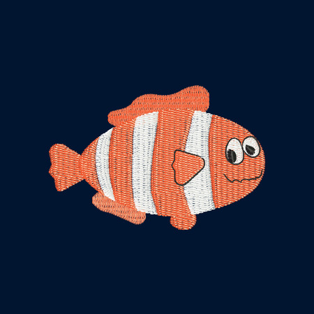 Clown fish patch embroidery, vector illustration of sea animal, cute character of underwater life, decorative pattern element for baby, children clothes, things design.