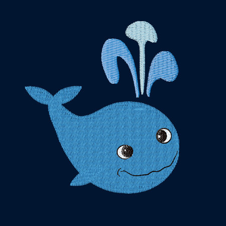 Whale patch embroidery, vector illustration of sea animal, cute character of underwater life, decorative pattern element for baby, children clothes, things design.
