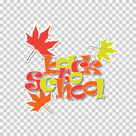 Back to school vector illustration label with maple leaves isolated on transparent background. Stiker for promotion Stock Photo