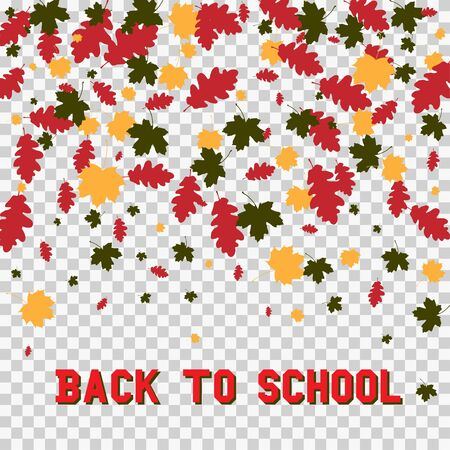 stiker: Back to school and autumn leaves isolated on transparent background. Vector illustration of colorful scattered dust. For sale gift card, certificate, voucher. Illustration