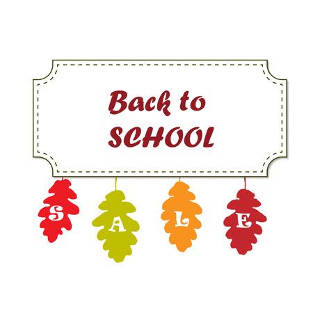 Back to school sale banner design with colorful oak leaves. Vector illustration for sale promotion flyer, banner, poster Stock Illustratie