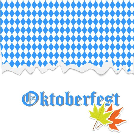 Oktoberfest banner with traditional October festival Bavarian flag pattern with torn paper, typography lettering, autumn maple leaves. Vector illustration for banner, print, promotion, flyer, poster Stock Photo
