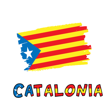 Catalonia blue estelada national flag painted as colorful brush stroke and typography text isolated on a white background. Vector illustration for cards, banners, print, web.