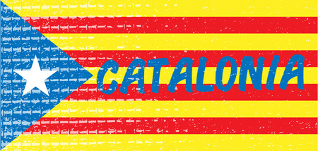 Catalonia blue typography text on estelada national flag textured background. Vector illustration for cards, banners, print, web. Ilustrace