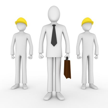 temporary workers: President and employees Stock Photo