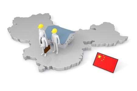 中国でビジネスを行う 写真素材