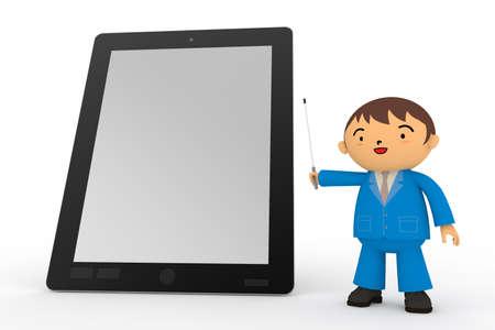 タブレット PC およびビジネスマン 写真素材