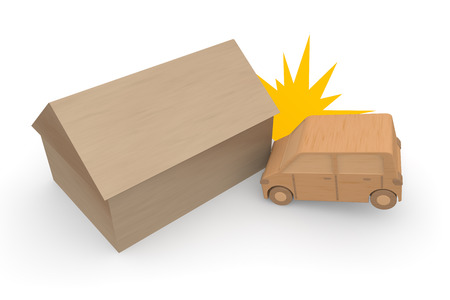 resulting: Traffic accident resulting in property damage Stock Photo