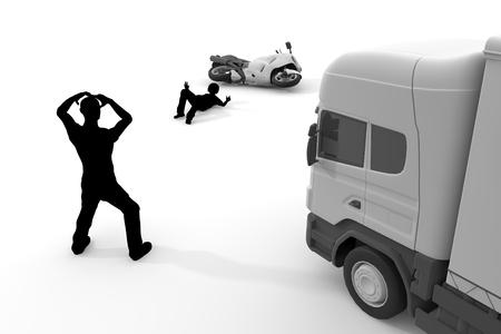 トラック交通事故オートバイ