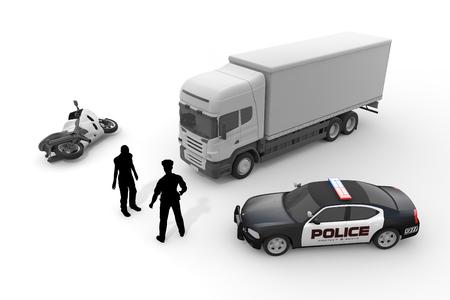 警察の車オートバイ警官 写真素材