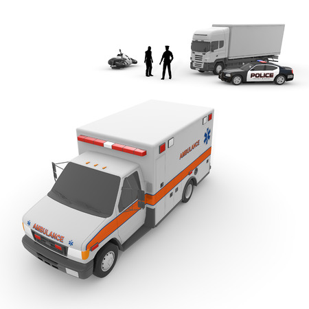 motorcycle officer: Ambulance  police car  motorcycle Stock Photo