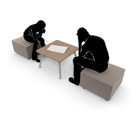 Man/Women/Problem/Serious/Silhouette/3 D rendering 写真素材 - 95396807