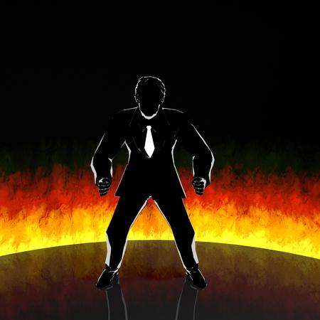 Businessmanmotivationfire3 D rendering