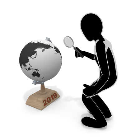 A globe and a person  magnifying glass3 D illustration