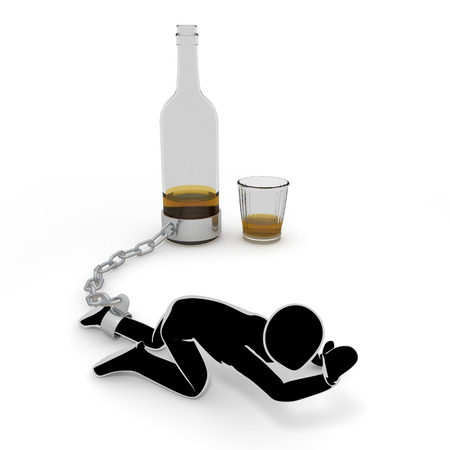 LiquorAlcoholismPeople3 D illustration