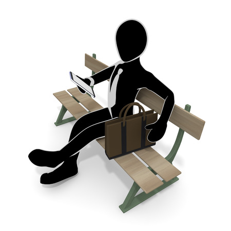 3D illustration A lazy businessman sitting on a park bench Reklamní fotografie