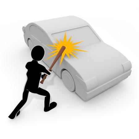 3D illustration A person who destroys a car with a bat 写真素材