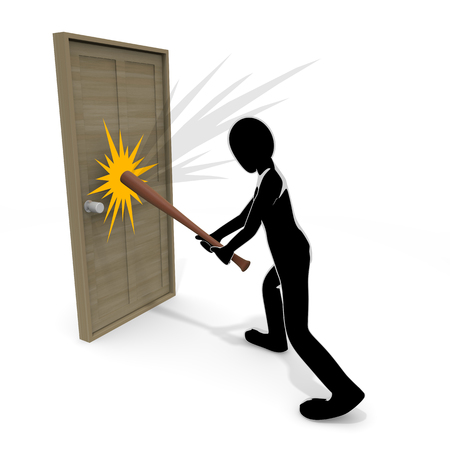 3D illustration Person who breaks the bat to the door 写真素材 - 119950858