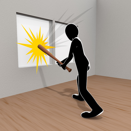 3D illustration A person who breaks a window with a bat
