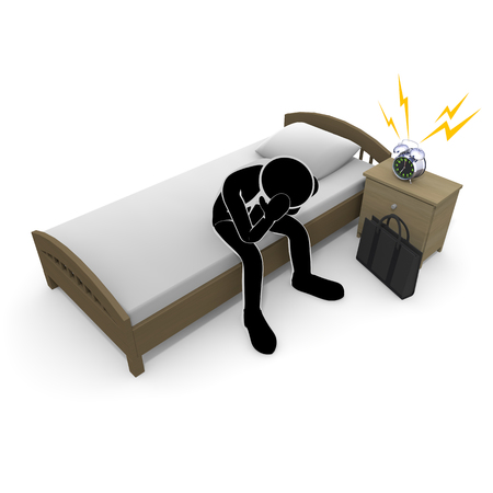 3D illustration Get up early A businessman who does not want to go to work