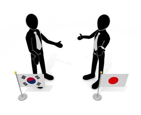 Japan-Korea talks national flag 3D illustration 写真素材