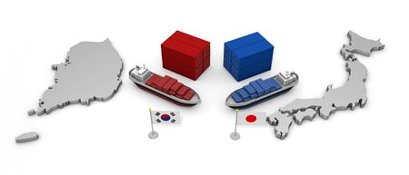 Japan and Korea Trade Problem 3D illustration
