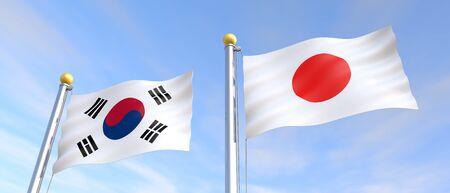Flag flying in the wind Japanese flag Korean flag 3D illustration