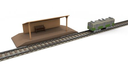 Train Countryside station 3D illustration