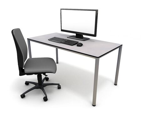 Start a business Desk computer 3D illustration