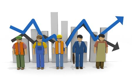 Working people Employment statistics Labor force 3D illustration 版權商用圖片