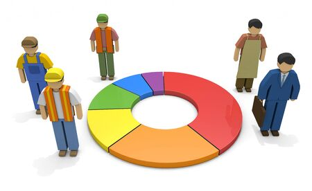 Working people Employment statistics Labor force 3D illustration 写真素材