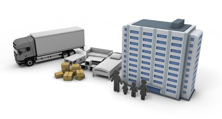 Moving Apartment purchase New Residence 3D illustration